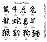 chinese zodiac. symbols.... | Shutterstock .eps vector #721744639