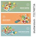 grocery shopping online using... | Shutterstock .eps vector #721748716