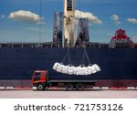 sugar bags are loading in hold... | Shutterstock . vector #721753126