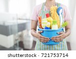 woman with cleaning equipment... | Shutterstock . vector #721753714