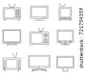 tv icons set. linear vector...   Shutterstock .eps vector #721754359