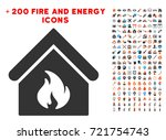 building fire icon with bonus... | Shutterstock .eps vector #721754743