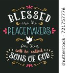 blessed are the peacemakers... | Shutterstock .eps vector #721757776