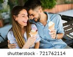 happy couple having date and... | Shutterstock . vector #721762114