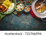 various indian food bowls with... | Shutterstock . vector #721766596