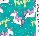 magic cute unicorn with stars.... | Shutterstock .eps vector #721770490