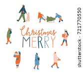 merry christmas greeting card... | Shutterstock .eps vector #721770550