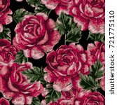 vector embroidery with roses....   Shutterstock .eps vector #721775110