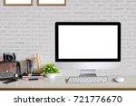 studio workplace with empty... | Shutterstock . vector #721776670