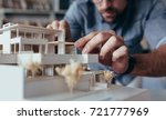 close up of male architect... | Shutterstock . vector #721777969