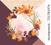 autumn watercolor wreath on... | Shutterstock . vector #721781974