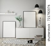 mock up poster frame in hipster ...   Shutterstock . vector #721782076