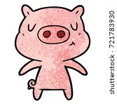 cartoon content pig | Shutterstock .eps vector #721783930