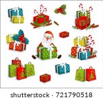 set of colorful gift  present... | Shutterstock .eps vector #721790518