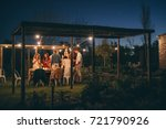 group of people having a dinner ... | Shutterstock . vector #721790926