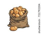 burlap sack full of ripe potato ... | Shutterstock .eps vector #721792204