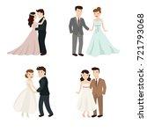 set of cute wedding couple.... | Shutterstock .eps vector #721793068