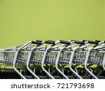 shopping cart trolley in row... | Shutterstock . vector #721793698