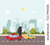vector flat cartoon car crash ...   Shutterstock .eps vector #721794430