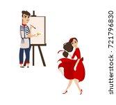 vector flat cartoon beautiful...   Shutterstock .eps vector #721796830