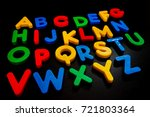colorful plastic alphabets... | Shutterstock . vector #721803364