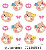 seamless pattern  cartoon cute... | Shutterstock .eps vector #721805566