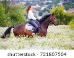 young rider girl with long hair ... | Shutterstock . vector #721807504