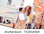 happy loving couple. happy... | Shutterstock . vector #721816564