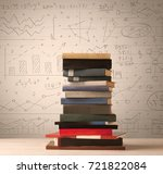 a pile of books with math