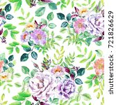 watercolor floral seamless... | Shutterstock . vector #721826629