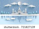 castle in winter on the lake....   Shutterstock .eps vector #721827139