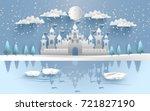 castle in winter on the lake....   Shutterstock .eps vector #721827190