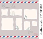 postage stamps template. blank... | Shutterstock .eps vector #721835080