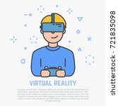 vr headset. happy man playing... | Shutterstock .eps vector #721835098