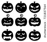 black pumpkins halloween vector ... | Shutterstock .eps vector #721837564
