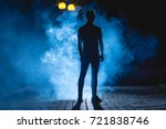 the man stand on the dark alley ... | Shutterstock . vector #721838746