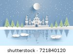 castle in winter on the lake.... | Shutterstock .eps vector #721840120