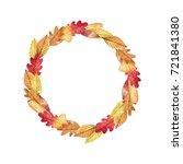 watercolor autumn wreath of... | Shutterstock . vector #721841380
