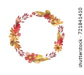 watercolor autumn wreath of... | Shutterstock . vector #721841410