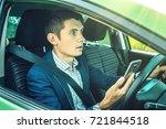 driver man with a mobile phone...   Shutterstock . vector #721844518