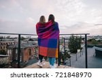couple young girls staying on... | Shutterstock . vector #721848970