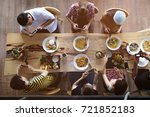top view of group people taking ... | Shutterstock . vector #721852183