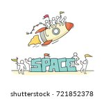 sketch of little people with... | Shutterstock .eps vector #721852378