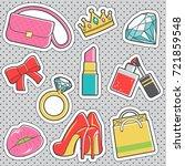 set of fun trendy vintage... | Shutterstock .eps vector #721859548
