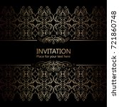 vintage baroque gold invitation ... | Shutterstock .eps vector #721860748