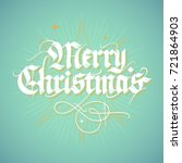 merry christmas  vintage style... | Shutterstock .eps vector #721864903