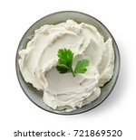 Bowl Of Cream Cheese Isolated...