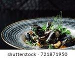steamed mussels | Shutterstock . vector #721871950
