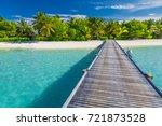 amazing maldives beach scene....   Shutterstock . vector #721873528