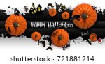 happy halloween paper art... | Shutterstock .eps vector #721881214